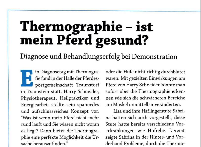 Reiter Kurier: Thermographie – ist mein Pferd gesund?
